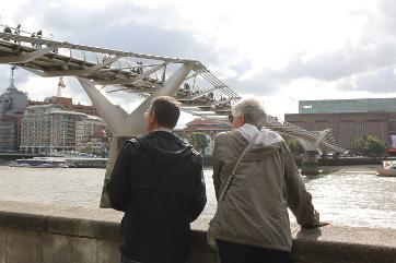River Thames walk in City of London with Susan